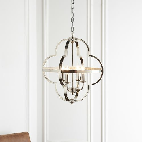 Ceiling Pendant Fitting 4 Light Bright Nickel & Clear Faceted Acrylic Nyon REG/505165