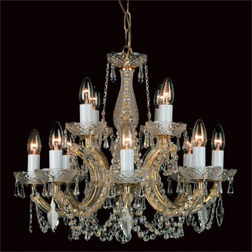Impex Maria Therese 12 Light Crystal Chandelier CP00150/8+4/G Gold