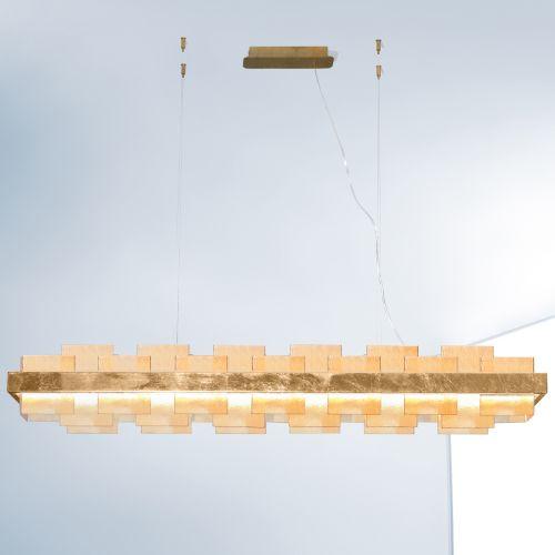 Kolarz Rettangolo 1 Light LED Linear Bar Ceiling Pendant 6040.80130/A Gold Leaf Amber Glass