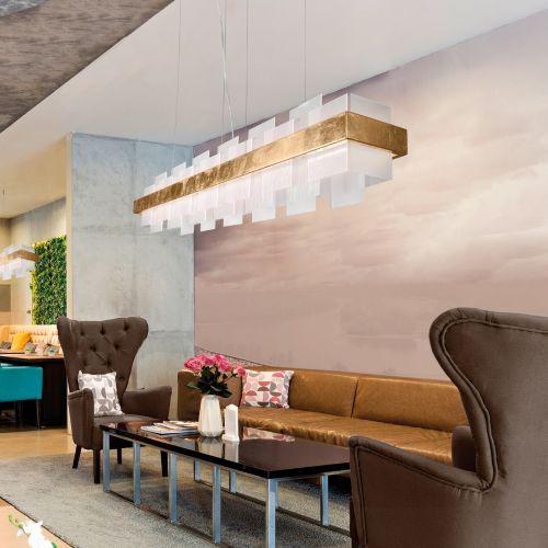 Kolarz Rettangolo 1 Light LED Linear Bar Ceiling Pendant 6040.80130/W Gold Leaf