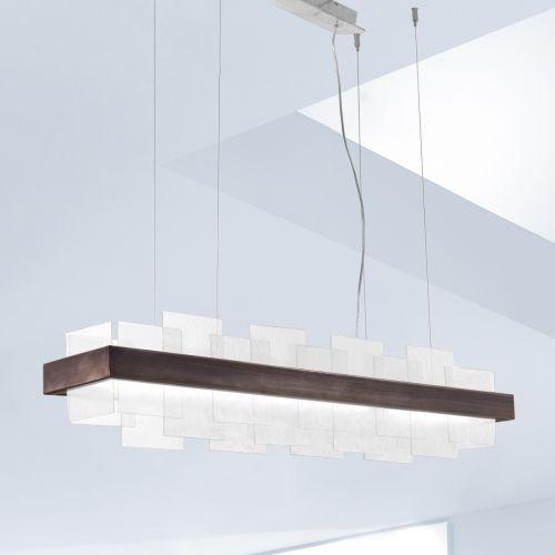 Kolarz Rettangolo 1 Light LED Linear Bar Ceiling Pendant 6040.80161/W Brunito Brushed White Glass
