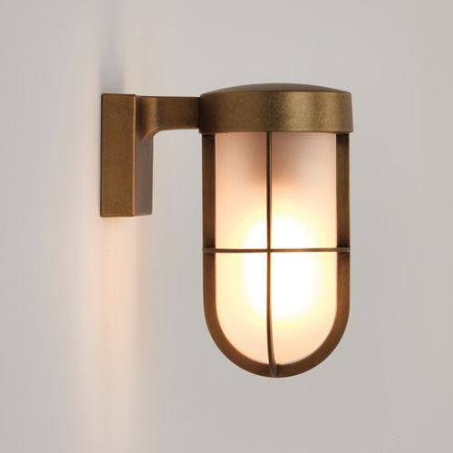 Astro Cabin Wall Frosted Outdoor Wall Light in Antique Brass 1368008