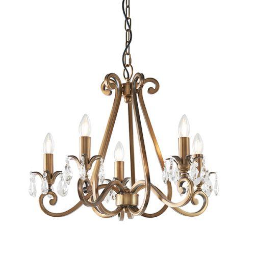 Interiors 1900 Oksana 5-Light Chandelier Brass UL1P5B