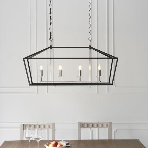 Linear Ceiling Bar Pendant 4 Light Matt Black Sofia REG/505011