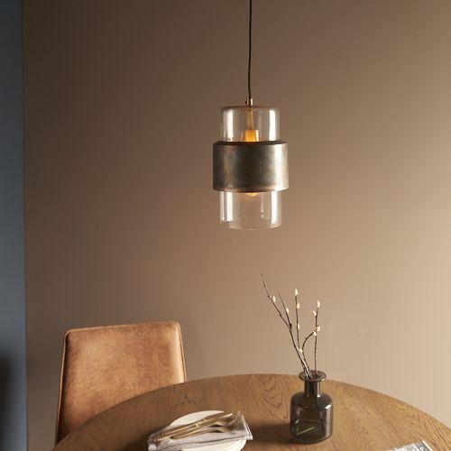 Ceiling Pendant 1 Light Bronze Patina Glass Shade Catania REG/505185