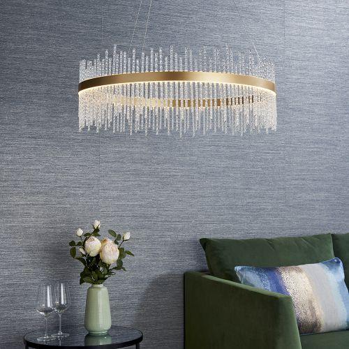 LED Ceiling Pendant Glass Rod Brushed Gold Fitting Riga REG/505015