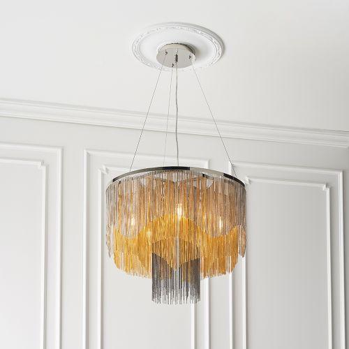Ceiling Pendant Fitting 5 Light Gold & Black Effect Chain Nantes REG/505024