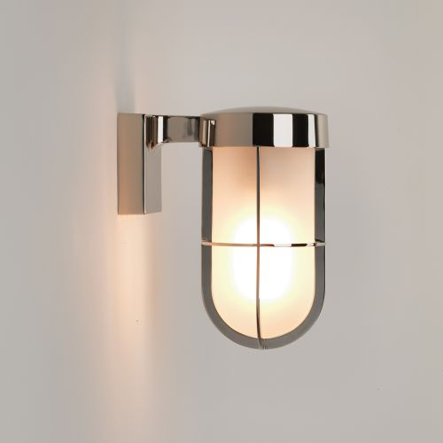 Astro Cabin Wall Frosted Outdoor Wall Light in Polished Nickel 1368006