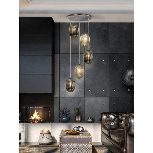 Schuller Ovila 752268 5 Light LED Ceiling Pendant Chrome Cognac Smoky Grey