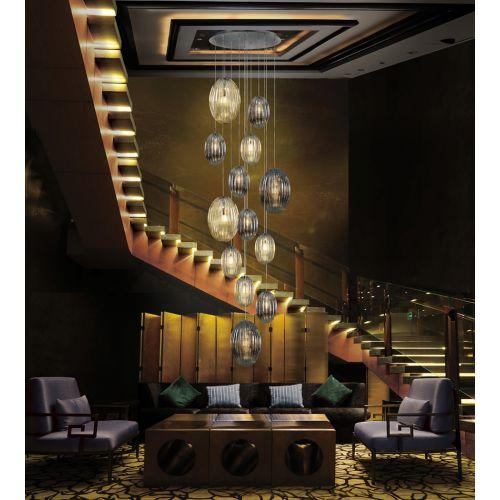 Schuller Ovila 752459D 13 Light LED Ceiling Pendant Chrome Cognac Smoky Grey With Remote