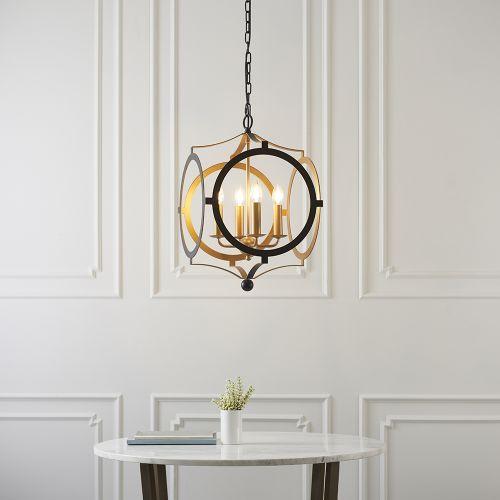 Ceiling Pendant Fitting 4 Light Matt Black & Gold Paint Alanya REG/505067