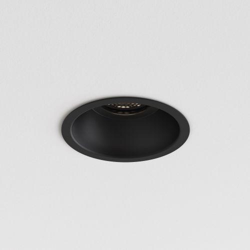 Astro Minima Slimline Round Fixed Fire-Rated IP65 Bathroom Downlight in Matt Black 1249035