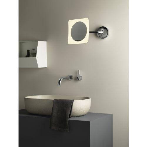 Astro Mascali Square LED Bathroom Magnifying Mirror in Polished Chrome 1373003