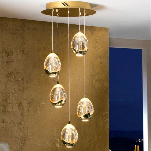 Schuller Rocio 783529 LED Ceiling Pendant 5 Light Gold