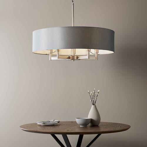 Multi-Arm Ceiling Pendant 5 Light with Grey Shade Zurich REG/505007