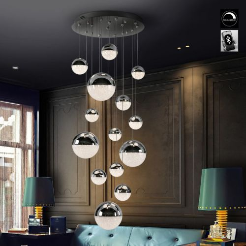 Schuller Sphere 793269B LED 14 Light Ceiling Cluster Pendant 3 Metre Drop Chrome Bluetooth Dimmable