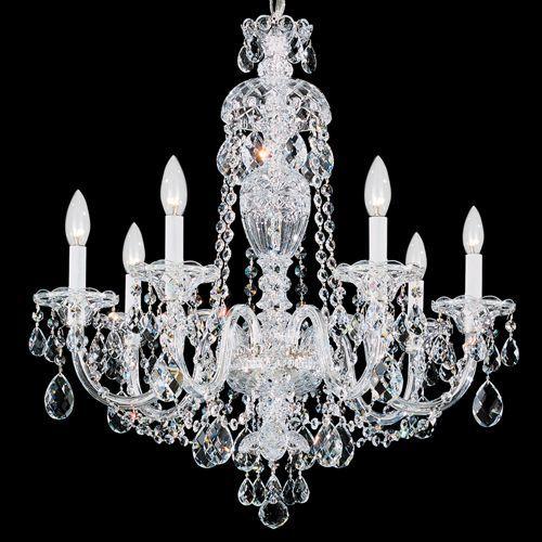 Schonbek 2995E-40H Sterling 7Lt Heritage Crystal Ceiling Chandelier Silver
