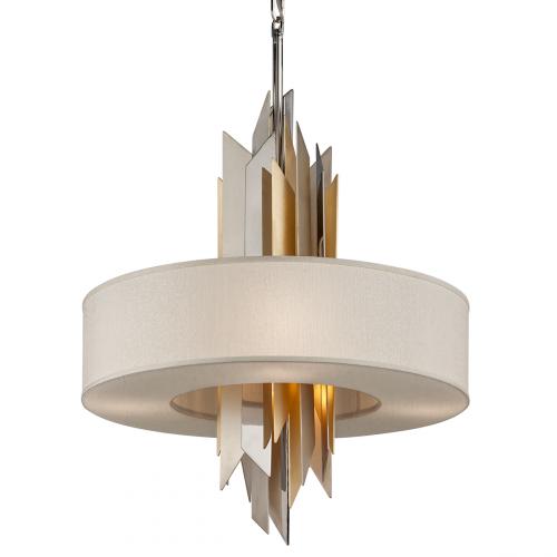 Large Ceiling 6 Light Pendant Silver / Gold Leaf Corbett Modernist 207-46-CE