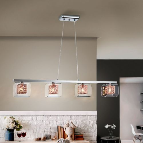 Schuller Lios 867012 Bar Ceiling Pendant 4 Light Chrome and Copper