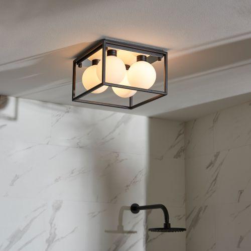 Flush Square Bathroom Ceiling Fitting IP44 Matt Black Opal Glass Shades Zona REG/505180