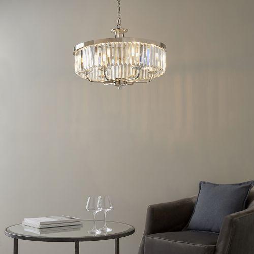Ceiling Pendant 6 Light Cut Glass Bright Nickel Samara REG/505032