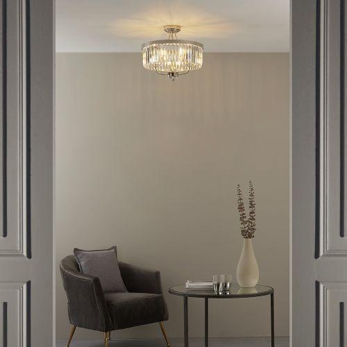 Semi-Flush Ceiling Pendant 3 Light Cut Glass Bright Nickel Samara REG/505033