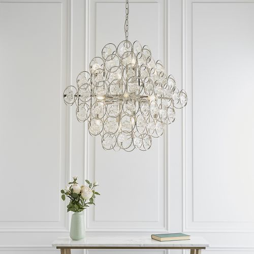 Large Tiered Crystal Glass Ceiling Pendant 14 Light Toulon REG/505021