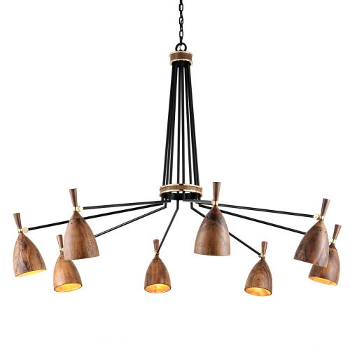Corbett Utopia Ceiling Large Multi-Arm Pendant 8 x E27 Brass / Wood 280-08-CE