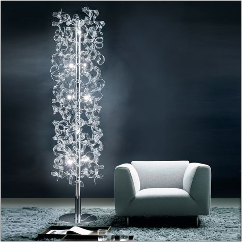 Metal Lux Astro 10 Light Crystal Glass Floor Lamp 206.760.01 Polished Chrome