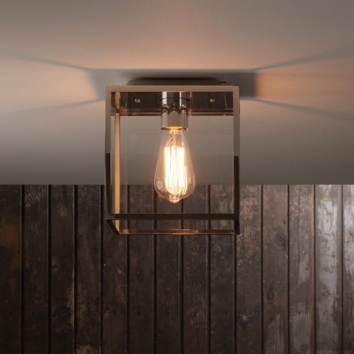 Astro Box Outdoor Ceiling Light in Polished Nickel 1354002