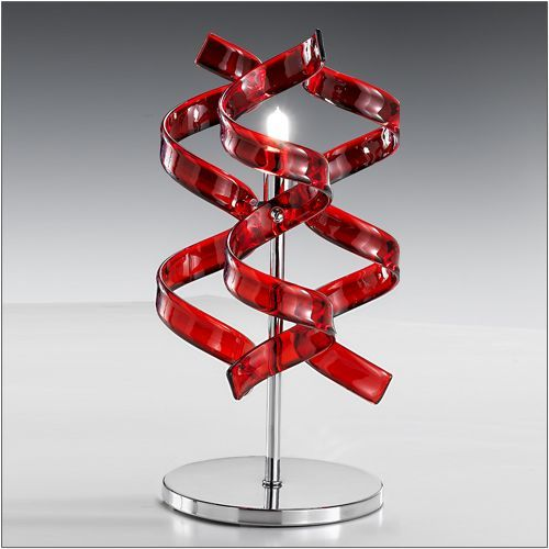 Metal Lux Astro Red Glass Table Lamp Polished Chrome 206.121.04