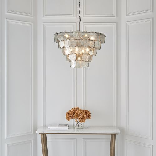 Tiered Ceiling Pendant 9 Light Mercury Glass Antique Silver Madrid REG/505016