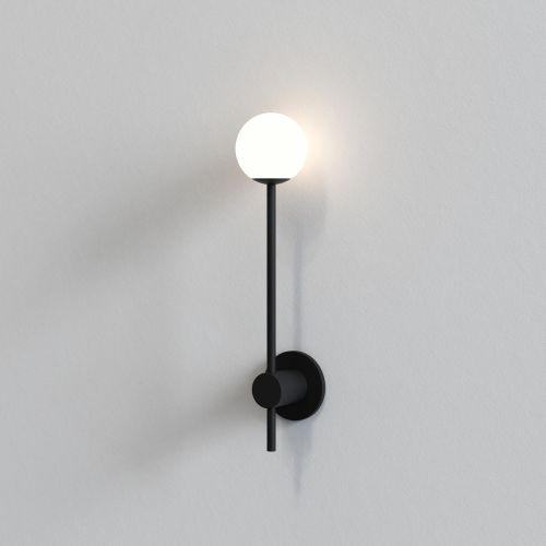 Astro Orb Single Bathroom Wall Light in Matt Black 1424004