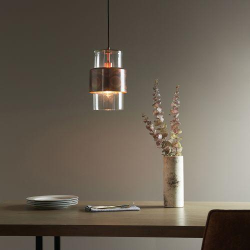 Ceiling Pendant 1 Light Copper Patina Glass Shade Catania REG/505186