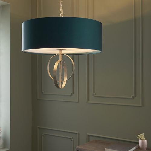 Ceiling Pendant Light Silver Leaf with XL Teal Shade Faro REG/505153