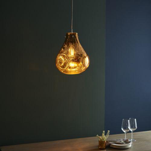 Glass Ceiling Pendant Light Fitting Metallic Gold Glass Valletta REG/505060