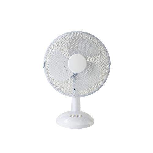Desk Fan White 3 Speed Oscillating Airo 40W 12 inch D0433