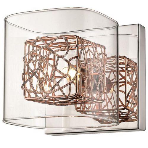 Single Wall Light Copper and Polished Chrome Lekki Aldermoor LEK7071