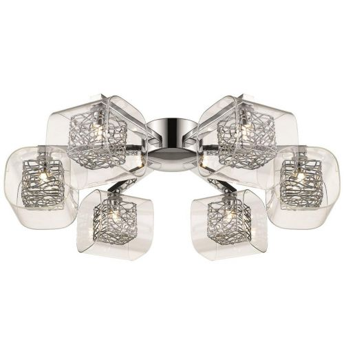 Semi Flush 6 Light Fitting Polished Chrome Lekki Aldermoor LEK7058