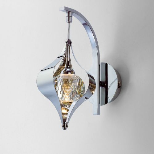Diyas IL30581 Amano Wall Lamp Switched 1 Light Polished Chrome Crystal