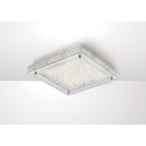 Diyas IL80071 Amelia Flush Ceiling Light 18W 1530lm LED 4000K Stainless Steel Crystal