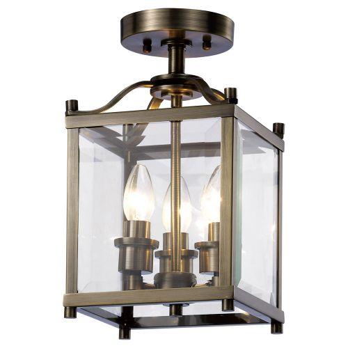 Diyas Aston  3 Light Semi Ceiling Antique Brass/Glass IL31110
