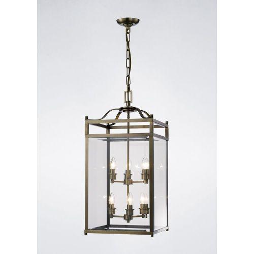 Diyas IL31114 Aston Pendant 6 Light Antique Brass/Glass