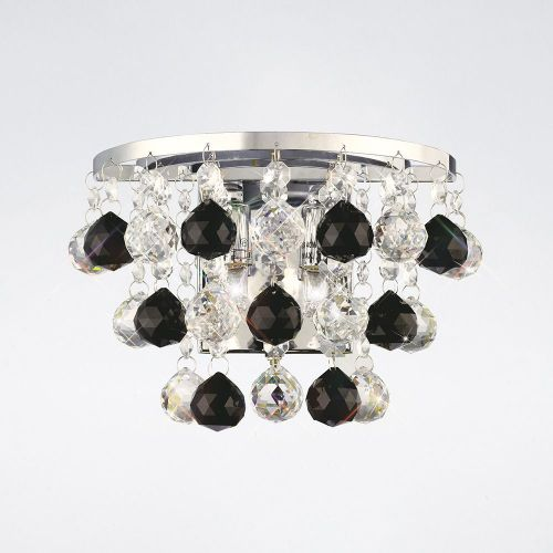 Diyas IL30014BL Atla Wall Lamp Switched 2 Light Polished Chrome/Crystal/Supplied With 9 Additional Black Crystal Spheres