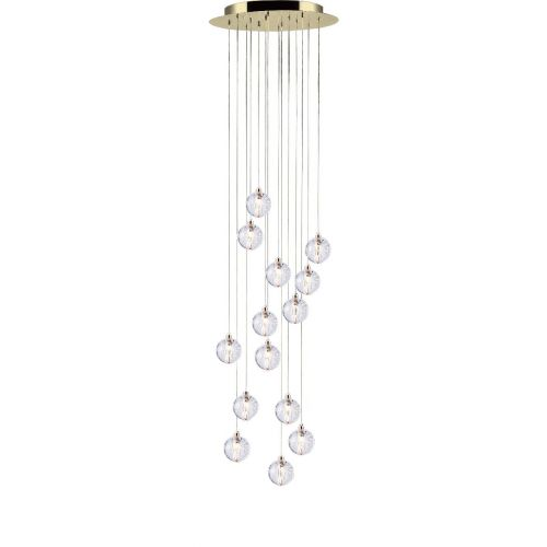 Avivo Bubbles PD1302-14A GP 14 Light LED Gold Clear Glass Ceiling Fitting