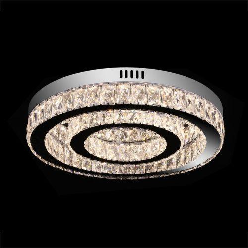 Large Double Ring Crystal LED Flush Light Fitting Remote Control Lekki Avon LEK110012