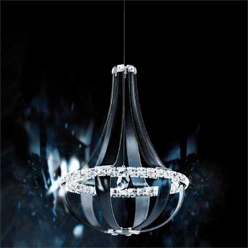 Schonbek Crystal Empire LED Swarovski Crystal Chandelier Grizzly Black Leather Frame SCE120DE-LB1S