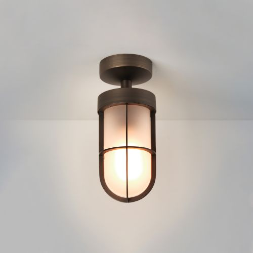 Astro Cabin Frosted Semi Flush Outdoor Ceiling Light in Bronze 1368011