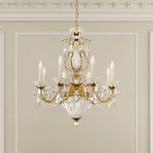 Schonbek 1248E-22 Bagatelle 11Lt Heritage Crystal Ceiling Chandelier Heirloom Gold