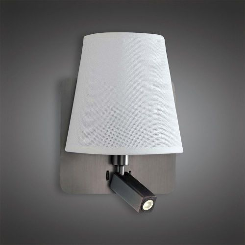 Mantra M5230 Bahia Wall Lamp Large Back Plate 1 Light E27 Reading Light 3W LED White Shade Bronze 4000K 200lm